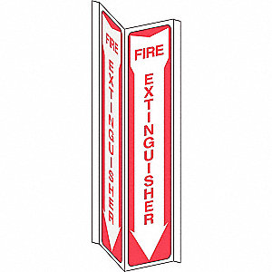 "Fire Equipment, No Header, Plastic, 18"" x 7-1/2"", With Mounting Holes, V-Shaped, Not Retroreflective"
