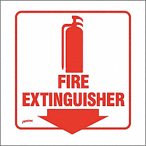 Fire Extinguisher Sign,8 x 8In,Red/Wht