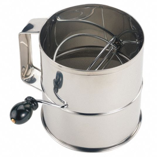 Flour Sifter,  Stainless Steel,  8 Cup Capacity,  1/8 in Mesh Size,  6 1/4 in Height