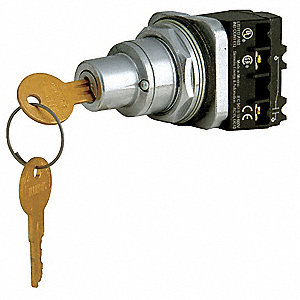 Non-Illuminated Selector Switch,  30 mm,  2,  Maintained / Maintained,  1NO/1NC,  Keyed