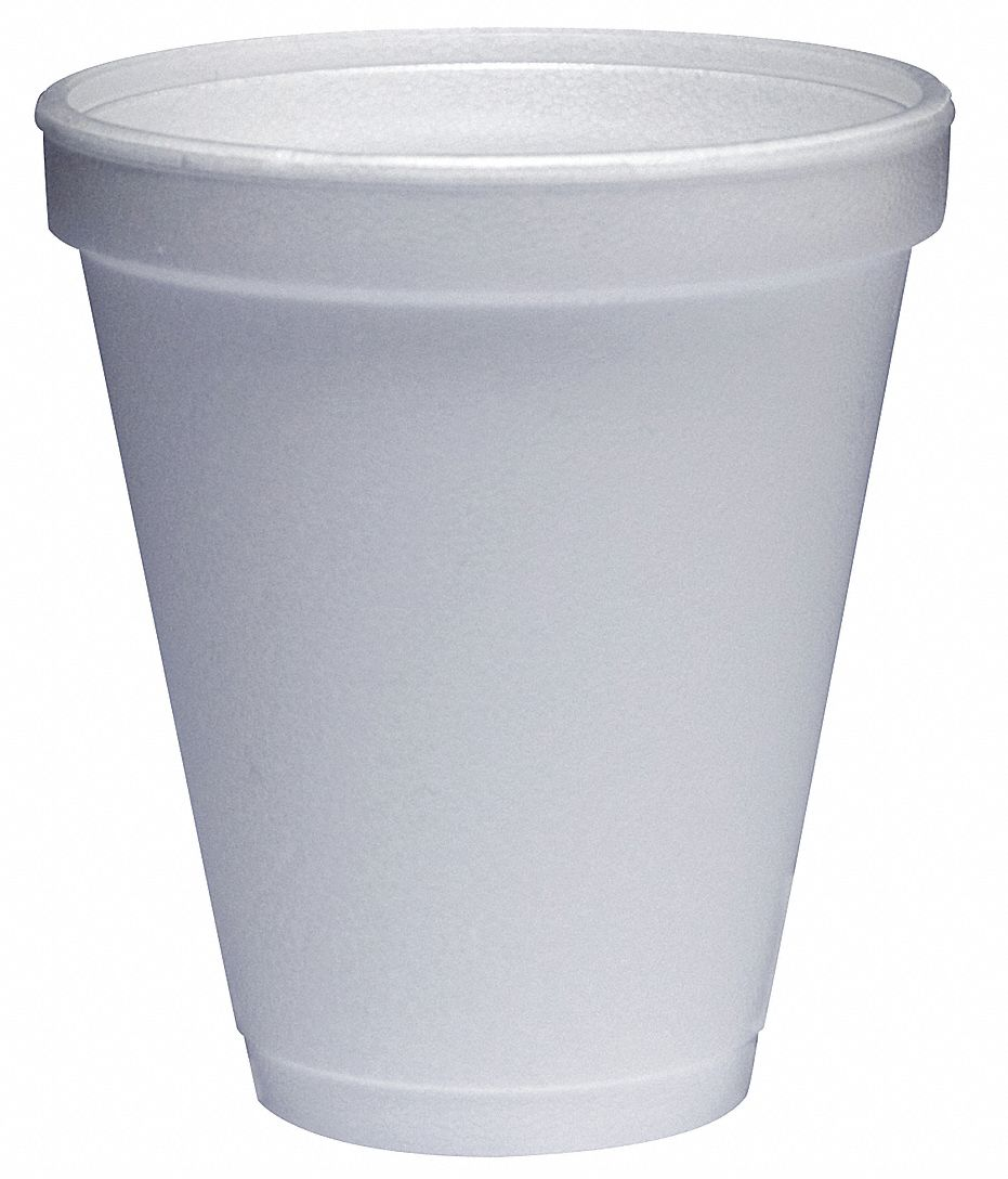 12 oz Foam Disposable Cold/Hot Cup, White, 1000 PK