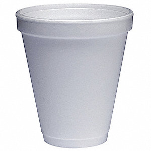 12 oz. Disposable Cold/Hot Cup, Polystyrene Foam, White, PK 1000
