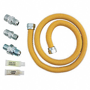 "Flow Valve Gas Connector Kit, Stainless Steel, 48""L x 5/8"""