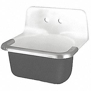 Utility Sink.Wall Mount Utility Sink 1 Bowl White Black 20 1 2 L X 24 W X 42 1 4 H