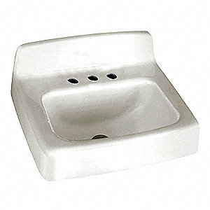 "Enameled Cast Iron Wall Bathroom Sink Without Faucet, 15-1/2"" x 9-7/8"" Bowl Size"