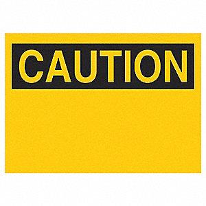 SIGN CAUTION HEADER 10X14 SS