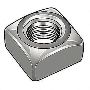 "5/8""-11 Square Nut - Heavy, Plain Finish, Steel, PK10"