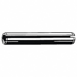 "Steel Slotted Spring Pin, 1-1/8"" L, Plain Fastener Finish"