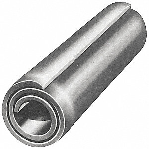 "Steel Coiled Spring Pin, 1"" L, Plain Fastener Finish"
