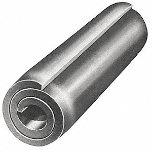 "Steel Coiled Spring Pin, 9/16"" L, Plain Fastener Finish"