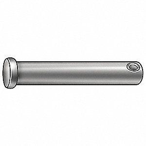 "Free Cutting Steel Clevis Pin, 1-1/4"" L, 3/16"" Pin Dia."