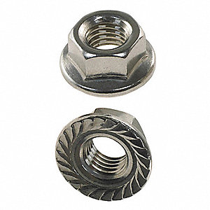 #6-32 Self Locking Flange Nut, Plain Finish, 18-8 Stainless Steel, Right Hand, IFI-145, PK50