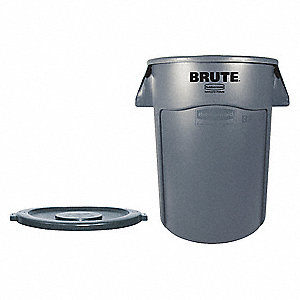 "BRUTE® 44 gal. Round Flat Top Utility Trash Can, 31-1/2""H, Gray"