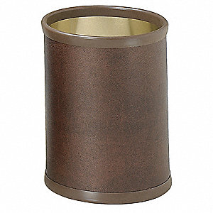 Brown Metal/Leatherette Waste Basket, 10 qt., 10 PK