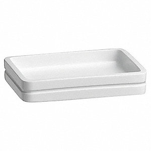 "White Resin Soap Dish, 5 x 3-3/4 x 1"", 24 PK"