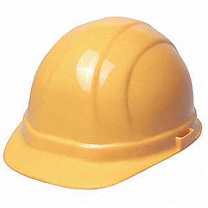 Front Brim Hard Hat, 6 pt. Pinlock Suspension, Yellow, Hat Size: One Size Fits Most