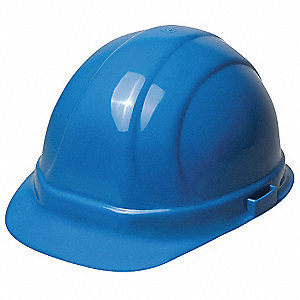 Front Brim Hard Hat, 6 pt. Pinlock Suspension, Blue, Hat Size: 6-1/2 to 8