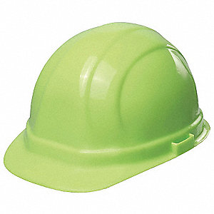 Front Brim Hard Hat, 6 pt. Pinlock Suspension, Hi-Visibility Green, Hat Size: 6-1/2 to 8