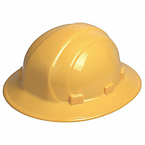 Full Brim Hard Hat, 6 pt. Pinlock Suspension, Yellow, Hat Size: 6-1/2 to 8