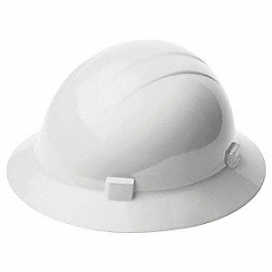 Full Brim Hard Hat, 4 pt. Ratchet Suspension, White, Hat Size: One Size Fits Most