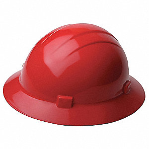 Full Brim Hard Hat, 4 pt. Ratchet Suspension, Red, Hat Size: One Size Fits Most