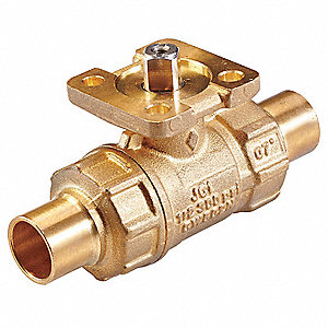 2-Way HVAC Control Ball Valve, Valve Only, Sweat, Coefficient of Volume 4.7