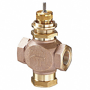 Globe Valve, 3-Way Mixing, 1/2 In, (F)NPT