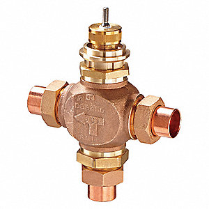 Globe Valve,3-Way Mixing,1/2 In,Sweat