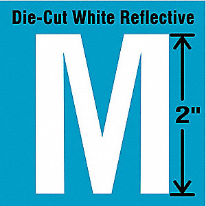 "Reflective Letter Label, M, Reflective White, 2"" Character Height, 5 PK"