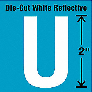"Reflective Letter Label, U, Reflective White, 2"" Character Height, 5 PK"
