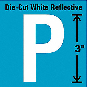 "Reflective Letter Label, P, Reflective White, 3"" Character Height, 5 PK"