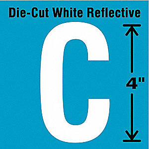 "Reflective Letter Label, C, Reflective White, 4"" Character Height, 5 PK"