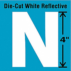 "Reflective Letter Label, N, Reflective White, 4"" Character Height, 5 PK"