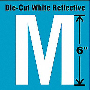 Die-Cut Reflective Letter Label,M,6In H