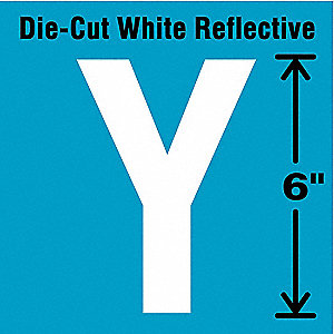 Die-Cut Reflective Letter Label,Y,6In H