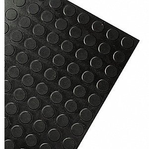 "Black, Rubber Landing Tile Cover, Installation Method: Adhesive, Square Edge Type, 24"" Width"