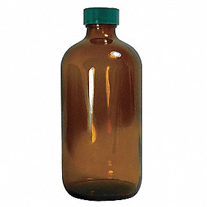 Narrow Mouth Boston Round Bottle, Sampling, Glass, 960mL, Amber, 30 PK