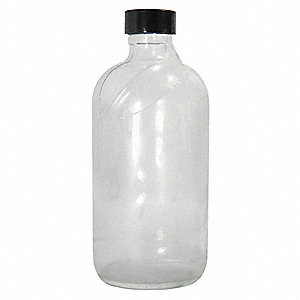 Narrow Mouth Boston Round Safety Coated Bottle, Sampling, Glass, 480mL, Clear, 12 PK