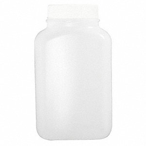 Wide Mouth Oblong Bottle, Sampling, Plastic, 1000mL, White, 116 PK