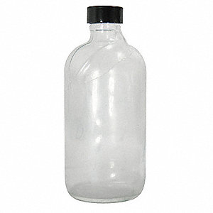 Narrow Mouth Boston Round Safety Coated Bottle, Sampling, Glass, 240mL, Clear, 24 PK