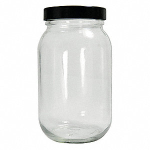 Wide Mouth Round Precleaned Bottle, Sampling, Glass, 480mL, Clear, 24 PK