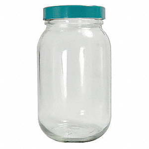 Wide Mouth Round Precleaned Bottle, Sampling, Glass, 960mL, Clear, 12 PK