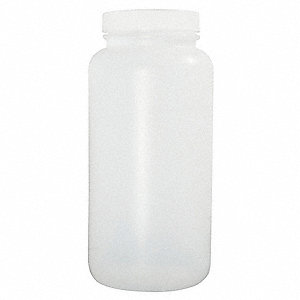 Wide Mouth Round Bottle, Sampling, Plastic, 2000mL, White, 50 PK