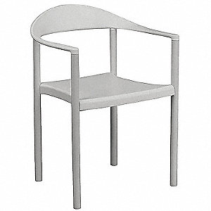 White Metal Stacking Chair With White Seat Color, 4PK