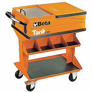 "Mobile Work Station, 31""H x 18""W x 18""D, 1850 cu. in., Orange"