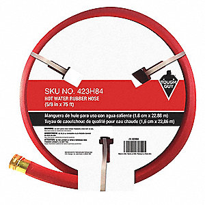 "75 ft. x 5/8"" dia. Hot Water Hose, Rubber, 402 psi, Red"