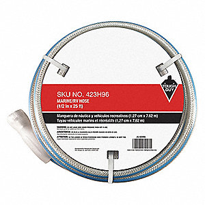 "25 ft. x 1/2"" dia. Marine Duty Water Hose, PVC, 100 psi, White"