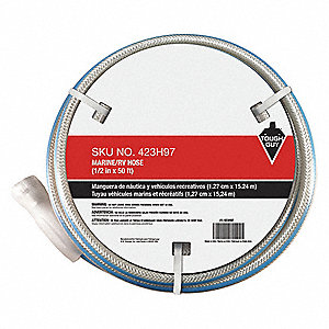"50 ft. x 1/2"" dia. Marine Duty Water Hose, PVC, 100 psi, White"