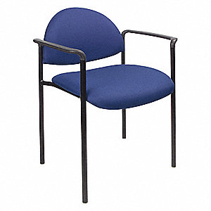 Black Metal Stacking Chair With Blue Seat Color, 1EA