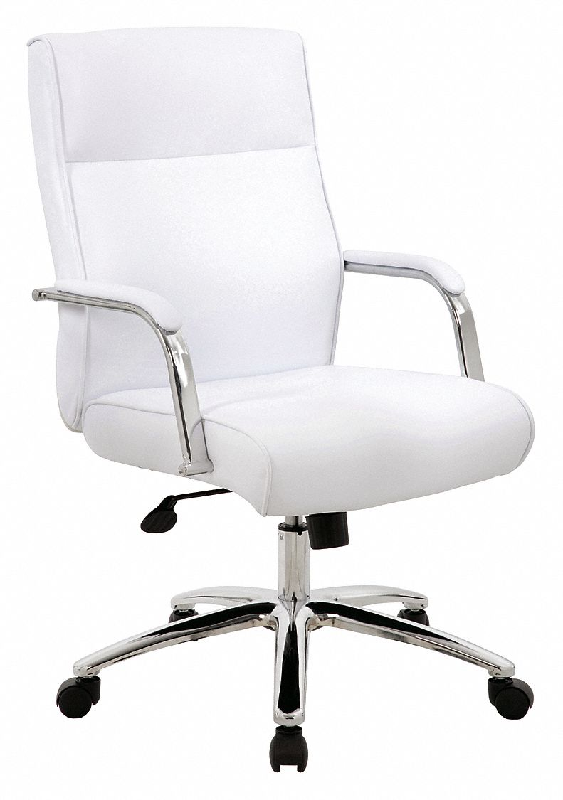 Executive Chair,  Executive Chair,  White,  Vinyl,  19 in to 22 in Nominal Seat Height Range
